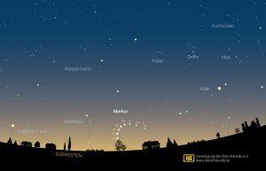 Aufsuchkarte zur Abendsichtbarkeit von Merkur im Januar 2021