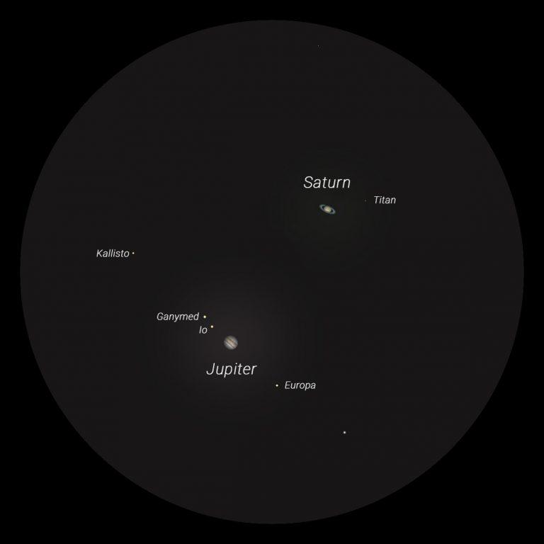 Jupiter und Saturn am 21. Dezember 2020 im Teleskop