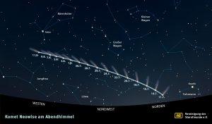 Aufsuchkarte für den Kometen NEOWISE am Abendhimmel